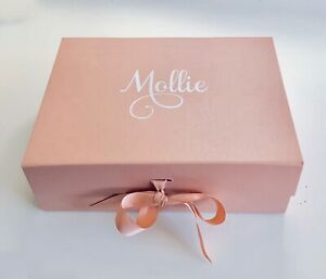 PERSONALISED LARGE A4 ROSE GOLD GIFT BOX VALENTINES WEDDING BIRTHDAY BRIDE BABY