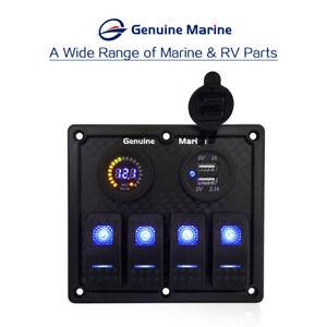 4 Gang Blue LED Waterproof Rocker Switch Panel Breakers Car Marine Boat RV 12V
