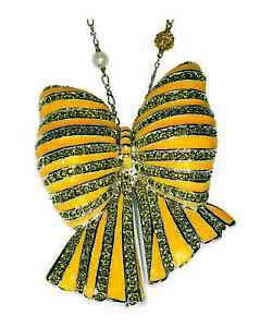 V-amp-A-Inspired-Yellow-Enamel-amp-Swarovski-Crystal-Huge-Bow-Brooch-Pendant-amp-Chain