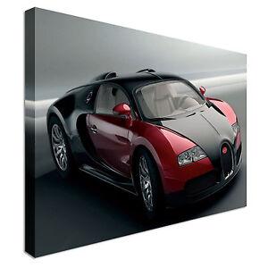 Car-Bugatti-Veyron-Black-Red-Canvas-Wall-Art-Picture-Print