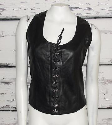 JUST US~BLACK~SOFT LEATHER *CORSET STYLE VEST* STRETCH PANEL~MOTORCYCLE RIDE~2XL