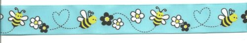 BEES and Flowers Grosgrain Ribbon 1 inch wide by 3 feet or 1 yard Choose color