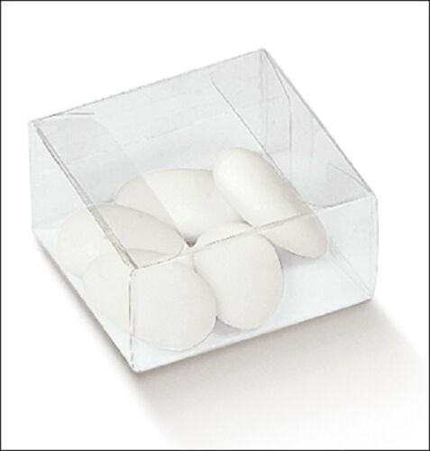 10 Scatole Astuccio Pvc Bomboniera Confezione Completa Confetti cm 6x6 alta 3