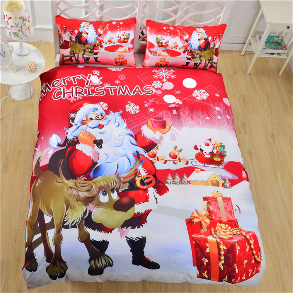 Shiny Santa Claus Red Face 3D Digital Print Bedding Duvet Quilt Cover Pillowcase