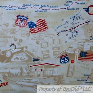Details about BonEful FABRIC FQ Cotton Quilt Brown USA American Road Map  Route 66 Car Country