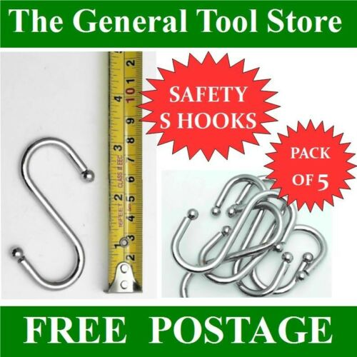 MEAT HOOK WITH SAFETY ENDS PACK OF 5 FOR POTS PANS CLOTHES AIRERS TACK BRIDLE