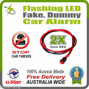 2x-RED-5mm-Flashing-LED-Fake-Dummy-Car-Alarm-Light-STOP-THIEVES