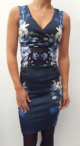 Nuevo-Lipsy-Azul-Oscuro-Floral-Vestido-Cenido-GB-Tallas-4-16