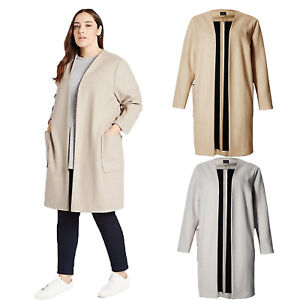 ex-M-amp-S-Collection-Ladies-Women-039-s-Wool-Blend-Open-Coat-Jacket-Shawl