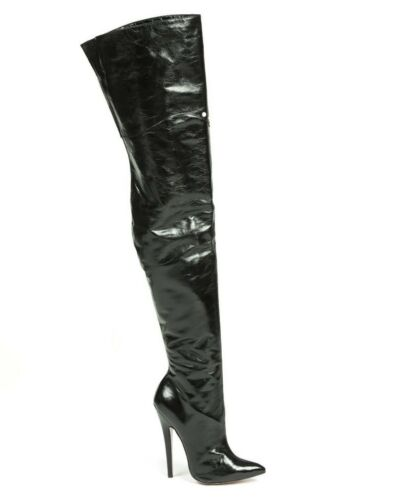 Extreme Heels Botas Leather Mori Pearl Nero Boots Nero Stivale Overknee Stiefel UF6qwdx