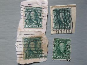 Benjamin-Franklin-RARE-ANTIQUE-1907-One-1-CENT-STAMP-Lot-of-4