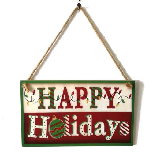 Christmas Wooden Hanging Sign Noel Joy Holiday Greeting Santa Claus Board Decor