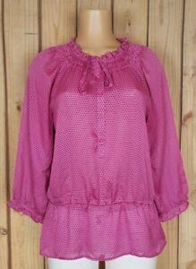LOFT-Ann-Taylor-Womens-Size-Medium-3-4-Sleeve-Shirt-Geo-Dot-Peplum-Button-Top