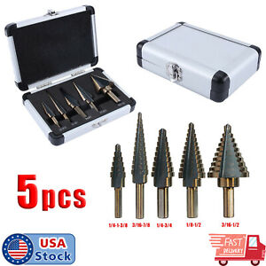 5X Cobalt Multiple Hole Cut 50 Sizes Step Drill Bit Set Kit w/ Aluminum Case