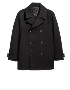 H&M Twill pea coat- COLOR- Black SIZE:38R- NWT