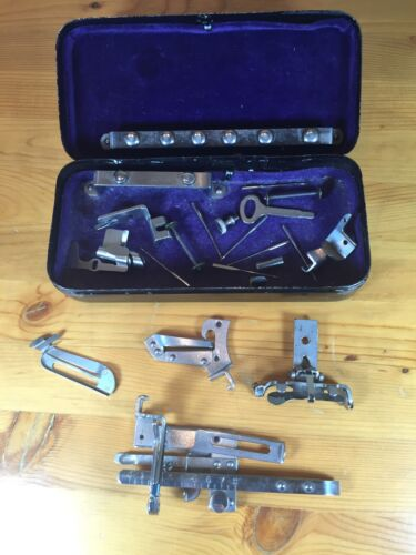 Vintage Sewing Machine Attachments Kit Black Metal Box Accessories