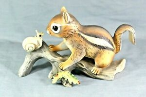 Masterpiece-By-Homco-Chipmunk-On-A-Log-With-Snail-Porcelain-Figurine-VINTAGE