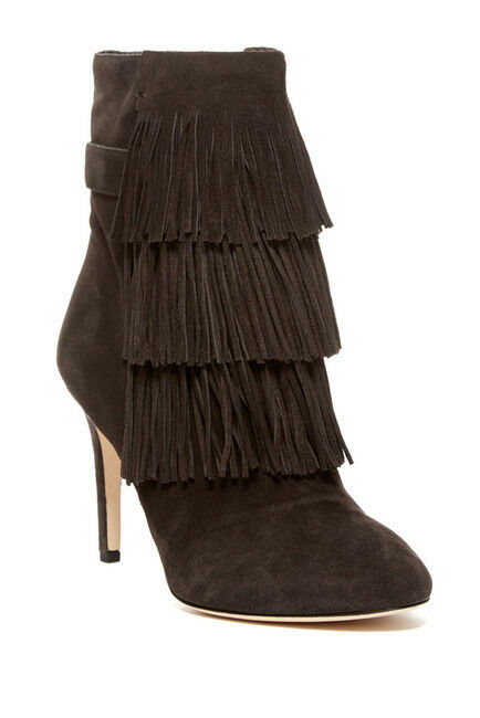 VIA SPIGA Vesta Grey Suede Leather Fringe Pointed Toe Ankle Booties Sz 5.5 NEW
