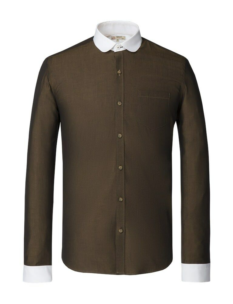 Gibson London Vintage Olive Tonic Penny Round Shirt BNWT Designer Mens Clothing