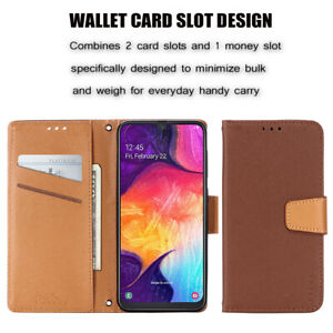 Contrast Leather Wallet Stand Phone Case For Samsung S7 Edge S8 S9 Plus S10E S20
