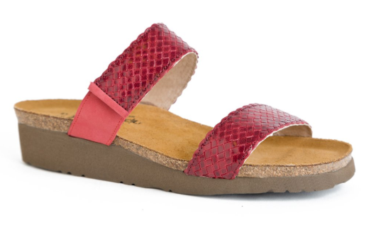 Naot Blake Red Braid Nubuck Leather Slide Sandal Women's sizes 5-11 36-42 NEW
