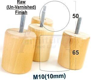 4x en bois de remplacement pieds naturel mobilier jambes sofas canapés chaise M10 10 mm