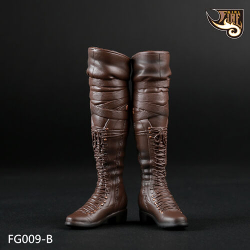 """Fire Girl Toys FG009-B Brown 1//6 Female Long Boots F 12/"""" Feet Removable Figures"""