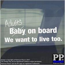 1 x adulti a bordo-bianco-Auto, Furgone, Firmare, Adesivo, Finestra, Adesivo, divertente, Scherzo, Baby