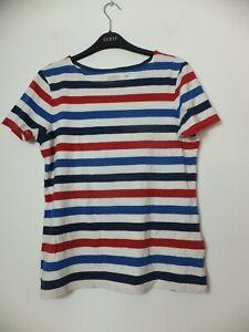 New Women's Seasalt Multicoloured Short Sleeve Summer Striped Sailor Top UK 10