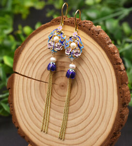 B15-Earrings-Gold-Plated-Ornament-Freshwater-Pearls-And-Cloisonne-Flowers