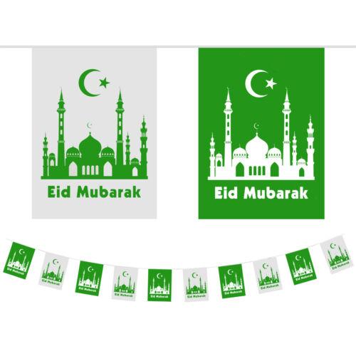 Eid Mubarak Ramadan Celebration Green White Mosque Decoration Plastic Bunting