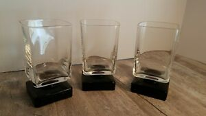 DiSaronno-Black-Square-Footed-Rocks-Cordial-Bar-Glasses-Set-Of-3
