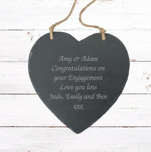 Personalised Engagement Heart Gift Plaque Wedding //Any Occasion//personalisation