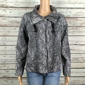 Chico's Snake Skin Zip Up Windbreaker Track Jacket 1 MEDIUM 8 Black Gray Nylon