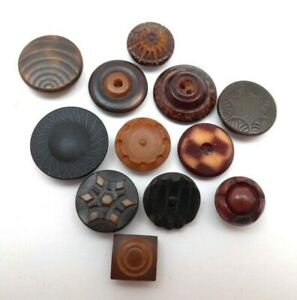 Lot of 12 small vintage/antique vegetable ivory buttons a nice variety of styles
