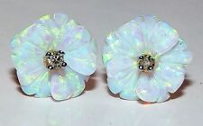 9CT YELLOW GOLD CARVED  OPAL & DIAMOND FLOWER STUD EARRINGS BUTTERFLY BACKS