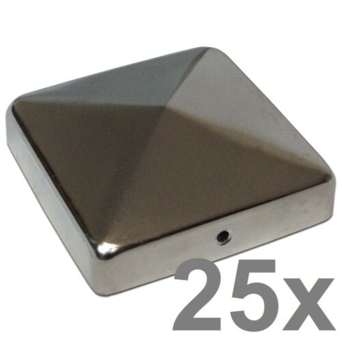 25x Pfostenkappe 9x9 cm Edelstahl mit Pyramide Pfosten Abdeckung 91x91 mm