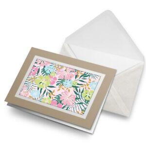 Greetings-Card-Biege-Hibiscus-Flower-Pattern-Surf-Surfer-8797