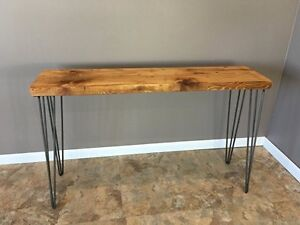 Image Is Loading Beautiful Wood Console Table With Hairpin Legs Size