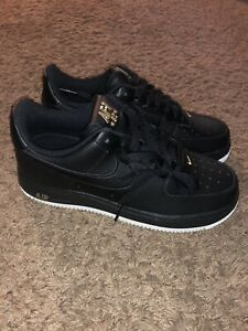 6aa81de1d7a08 Nike Air Force 1 Low '07 Leaf Crest Black White Gold AA4083-014 Size ...