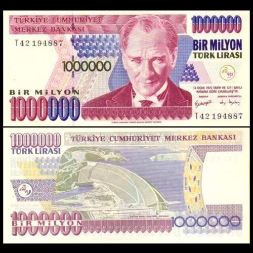 2002 Turkey 1,000,000 1000000 one million Lira P-213 1970 UNC