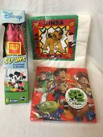 Disney's Perfect Party Toy Story/lion King Napkins W/mickey & Minnie Straws Lot