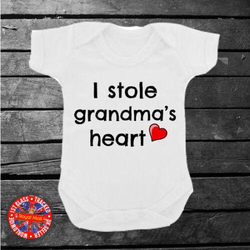 Gift Newborn I stole Grandma/'s heart Babygrow Cute Grandparents Babyshower