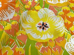 SALE-5YDS-FLOWER-POWER-Barkcloth-Era-Vintage-Fabric-60s-Rayon-Cotton-w-TAGS