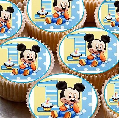 Excellent 24 X 1 Happy 1St Birthday Mickey Mouse Cup Boys Cake Edible Wafer Personalised Birthday Cards Veneteletsinfo