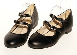 Young-Womens-Mary-Jane-School-Shoes-Flat-Ankle-Double-Strap-Buckle-Slip-On