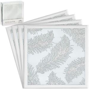 Set-of-4-Glass-Sparkly-White-Glitter-Feather-Design-Mirror-Tea-Coffee-Coasters