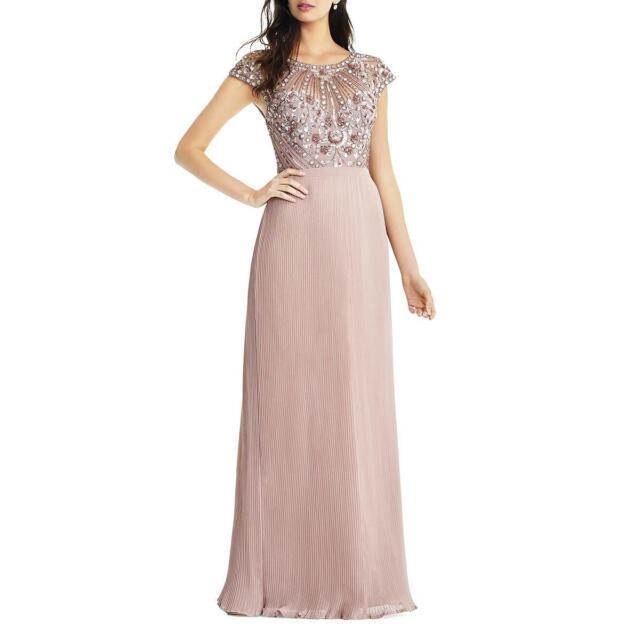 Aidan Mattox Womens Pink Embellished Formal Evening Dress Gown 0 BHFO 7440