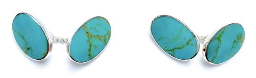 925 Sterling Silver Blue Turquoise Stone Classic Chain Link Oval Shape Cufflinks