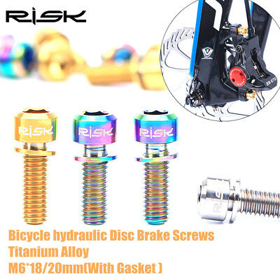 20mm Titanium Bolt Bicycle Disc Brake Caliper Screw With Gasket 4PCS M6*18
